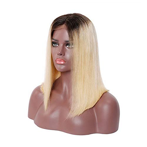 Blonde Lace Front Wig Brazilian Short Bob Lace Front Human Hair Wigs For Black Women Ombre 3 colors,6inches,T1B