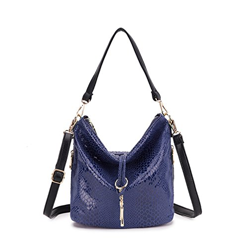 Serpentine Snake Female Red Availcx Tassel Bags Pattern Blue Woman Big Shoulder Bag Woman Bag Jeans Leather wwxR18q