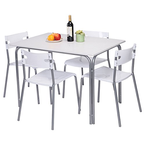 gracelove 5 piece dining kitchen table set 4 upholstered chair breakfast dinette furniture white