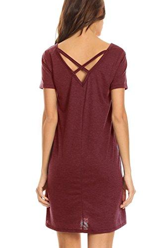 Women's V-Neck Pocket T-Shirt Dress with Cross Back (Burgundy, Medium)