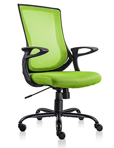 MDL Furniture Mesh Office Chair Ergonomic Mid Back Task Chair with Comfortable Armrest Desk Chair(Black/Green) (Green)