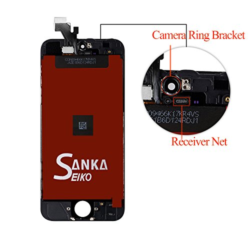 SANKA iPhone 5C LCD Screen Replacement, Digitizer Display Retina Touch Screen Glass Frame Assembly for iPhone 5C - Black (Free Tools Included) by SANKA (Image #2)