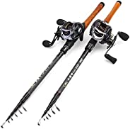 New Rod Reel Combo, Portable Telescopic Fishing Rod and Casting Reel Set, Casting Combination, Trout Carbon Ba