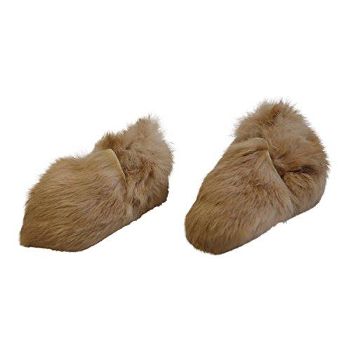Hollert German Leather Fashion Baby Kaninchen Schuhe - HOPSI Fellschuhe Kinder Hausschuhe Beige