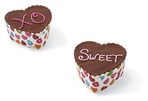 Conversation Heart Pencils (Wilton Disposable Standard Baking Cups-Scalloped Heart Words Can Express 12/Pkg, Multi)