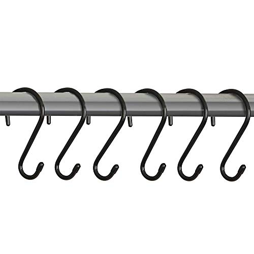 Smart Design Premium S-Hooks w/Rubber Gripped Finish - Steel Metal Frame - Rust Resistant Finish - Hanging Kitchen, Closet, Storage Items - Home (3.125 x 5.75 Inch) [Black] (6-Pack) ()