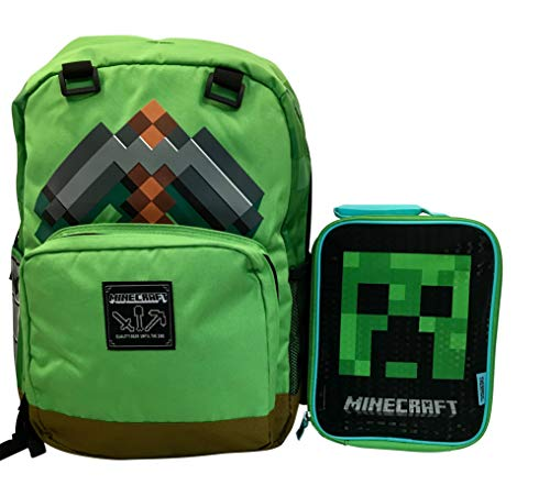 Minecraft Pickaxe Adventure Backpack and Creeper Lunch Bag