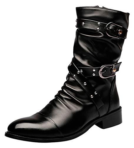 SANTIMON Men's Boots Retro Studded Rivet Buckle Zipper