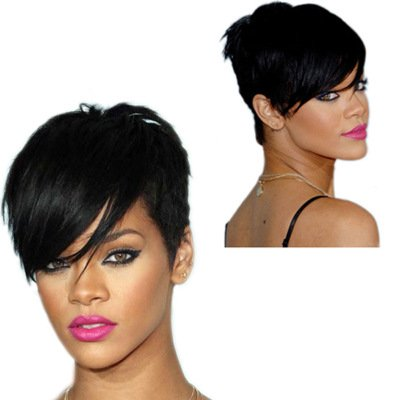 Rihanna Short Hairstyle Wigs Heat Resistant Synthetic Slant Bangs Refreshing Fancy Dress Cosplay Wigs(Natural,Black) (Style Rihanna)