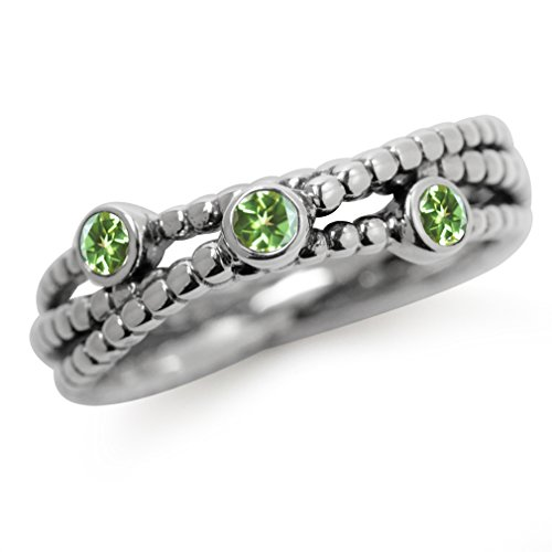 3-Stone Natural Peridot 925 Sterling Silver Stack/Stackable Ribbon Ring Size 6