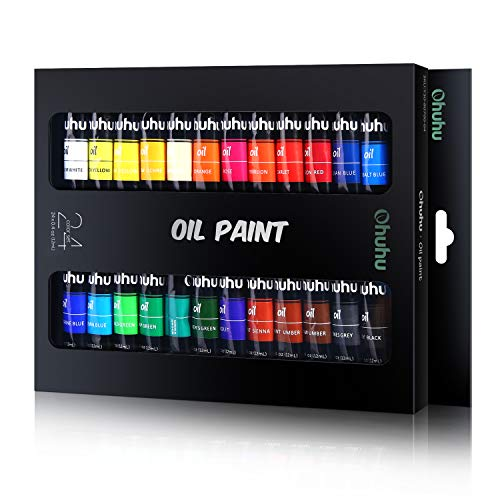 (Ohuhu Oil Paint Set, 24 Oil-Based Colors, Artists Paints Oil Painting Set, 12ml x 24 Tubes)