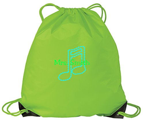 Cheap Music Note Personalized – Drawstring Sack Cinch Backpack (Bright Lime)