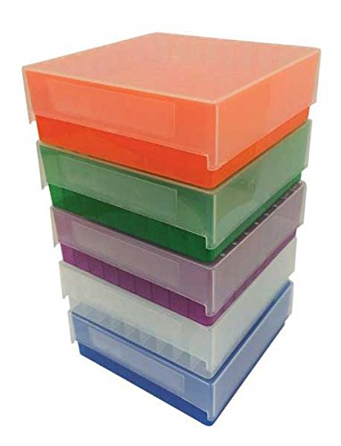 Argos R3115 Green Polypropylene 81 Place Microcentrifuge Tube Freezer Storage Box with Clear Lid for 0.5//1.5//2.0mL Microcentrifuge Tubes Pack of 5