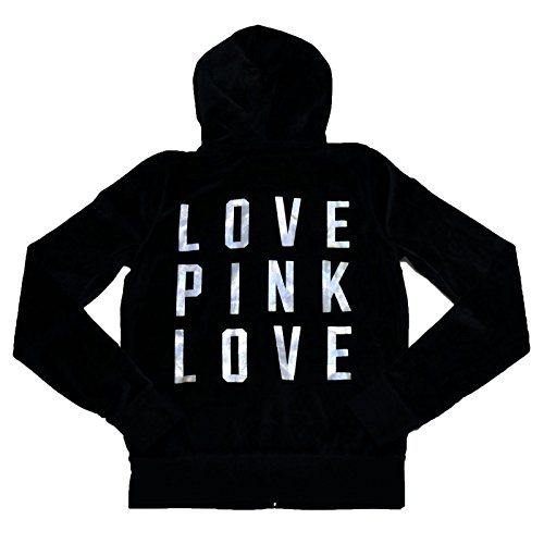 Victoria's Secret Velour Bling Crystal Silver Foil Pink Hoodie, Black (S) by Victoria's Secret (Image #1)