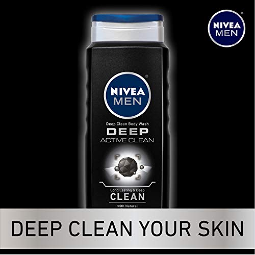 NIVEA Men Deep Active Clean Body Wash - 8-Hour Fresh Scent with Natural Charcoal - 16.9 Fl. Oz. Bottle (Pack of 3) 5