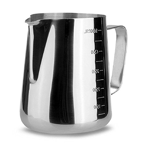 iCoffee Milk Frothing Pitcher 20 oz (600 ml) HEAVY 1.2MM Thickness FOODGRADE 18/10 Stainless Steel with INDELIBLE Measurements on BOTHSIDES for Coffee Espresso Maker Milk Frothing Steaming Pitcher by iCoffee Brand (Image #9)