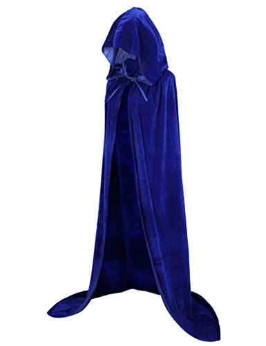 Blue Hooded Cape Costume (Colorful House Unisex Full Length Velvet Hooded Cape Halloween Cloak ( 59