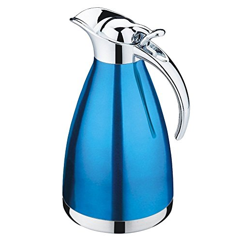 TOOGOO(R) Stainless steel carafe 68 oz stainless steel double walled Vacuum insulated with push button, stainless steel water pitcher carafe with lid, 2-liter insulation pot(blue) ()