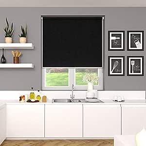 Blinds2Curtains Polyester Noir 250 cm x 150 cm Emma Plain Roller Blind