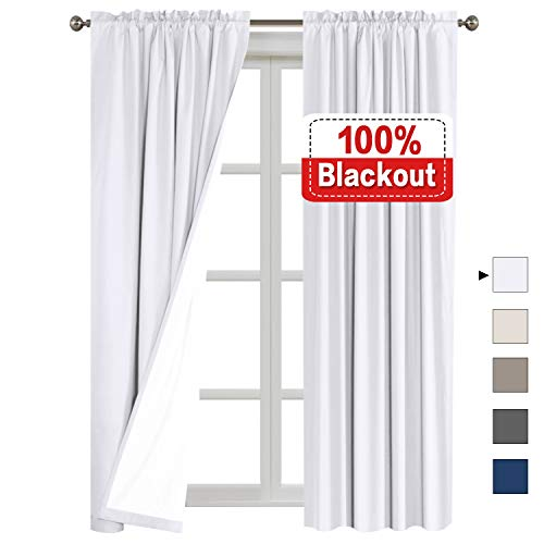 (Flamingo P 100% Blackout Curtains Waterproof Fabric Curtains with White Thermal Insulated Liner, Rod Pocket Cotton Finishing Curtains for Bedroom 2 Bonus Tie-Backs, (2 Panels W52 x L96 inches, White) )