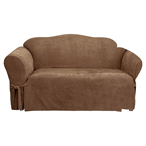Sure Fit Soft Suede 1-Piece  - Sofa Slipcover  - Brown Clay (SF42595) - Futon Cover Soft Suede