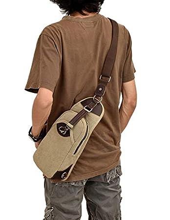 Color : 1 JFIDSJ New Fashion Green Canvas with Crazy Horse Leather Sports Chest Bag Canvas Bag Shoulder Bag Messenger Bag