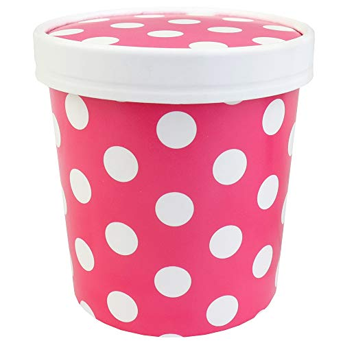 16 oz Freezer Containers And Lids - Pink Polka Dotty To Go Cups - Durable Ice Cream Containers! With Non-vented Lids to Prevent Freezer Burn! Fast Shipping - Frozen Dessert Supplies - 250 Count