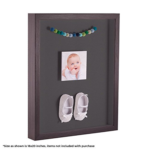 ArtToFrames 24 x 36 Inch Shadow Box Picture Frame, with a Melinga Oak Gray 1'' Shadowbox frame and Charcoal Mat by ArtToFrames