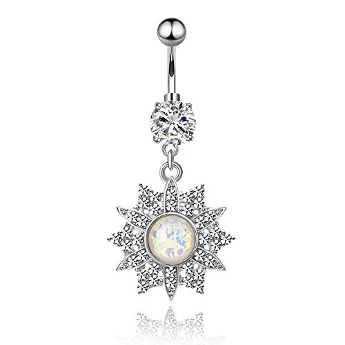 CABBE KALLO Belly Button Rings 14G Opal Jeweled Flower Dangle Surgical Steel Navel Body Piercing Jewelry (Crystal Clear 14G=1.6mm)