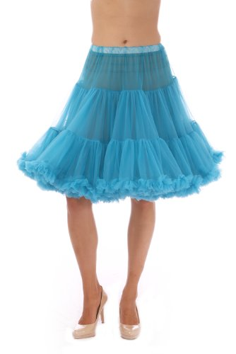 Malco Modes Luxury Vintage Knee-Length Crinoline Petticoat Pettiskirt, Adult Tutu, Rockabilly 50s Square Dance Peacock Blue]()
