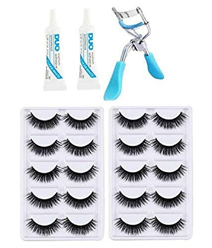 Miss Hot 10 Pair False Eyelash, 2 Eyelash Glue + 1 Eyelash Curler(Eye Combo)