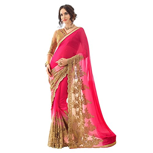 Triveni Marvelous Magenta Colored Embroidered Georgette Net Saree - Net Sarees In India