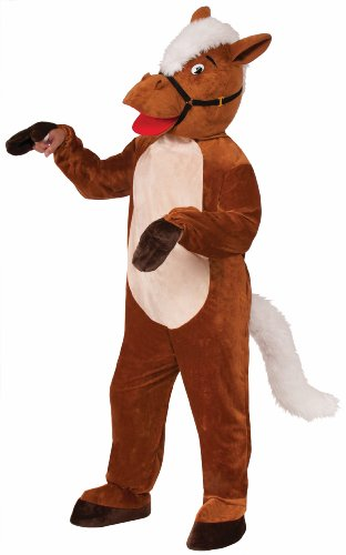 [Forum Novelties Men's Henry The Horse Plush Mascot Costume, Brown, One Size] (Animal Halloween Costumes Men)