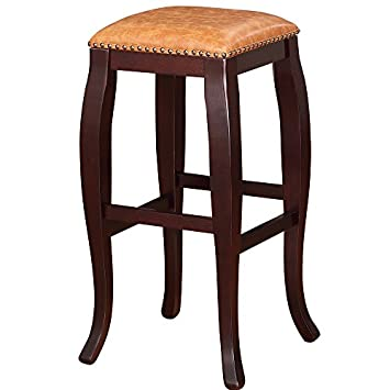 Linon San Francisco Square Top Bar Stool, Caramel