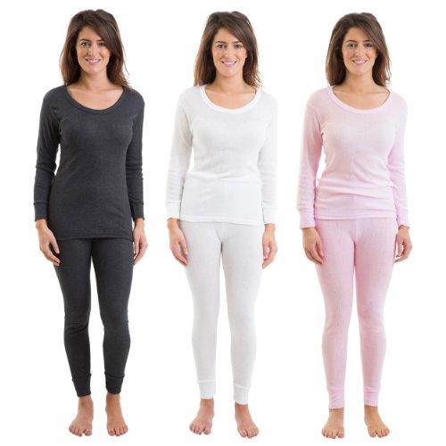Conjunto De 3 Colores Mujeres Ropa Interior Set Largo Manga De Chaleco Y Pantalones Largos Rib Jacquard, Varios Tamaños
