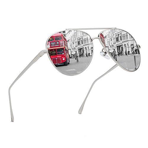 Premium Military Polarized Aviator Sunglasses Metal Frame Brand Unique Design Sun glasses For Mens Womens 100% UV Protection (Silver Frame/Silver Lens, ()