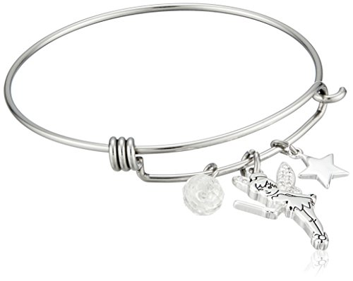 Disney Stainless Steel Catch Bangle with Silver Plated Tinker Bell, Star and Crystal Bead Charm Bangle Bracelet