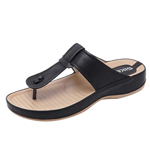 【MOHOLL】 Women's Thong Sandals Flip-Flop Essentials Unisex Sandals Black]()