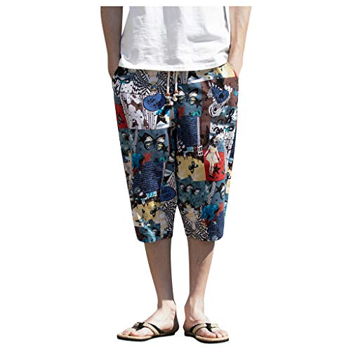 Allywit M-5XL Men's Wide-Breasted Harem Retro Chinese Style Drawstring Cotton Linen Wide-Leg Loose Cropped Trousers Blue