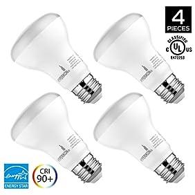 Hyperikon, BR20 Dimmable LED Light Bulb, 8W (50W equivalent), 2700K (Warm White), CRI 90+, Wide Flood Light Bulb, Medium Base (E26), UL & ENERGY STAR, 4-Pack