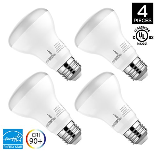 Hyperikon, BR20 Dimmable LED Light Bulb, 8W (50W equivalent), 2700K (Warm White), CRI 90+, Wide Flood Light Bulb, Medium Base (E26), UL & ENERGY STAR, 4-Pack - R20 Reflector Floodlight Bulb
