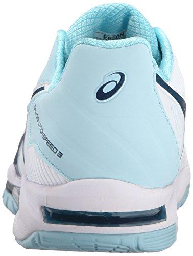 Chaussures Speed-3 Speed gel Pour Femme, Blanc / Bleu Acier / Cristal Bleu, 5 M Us