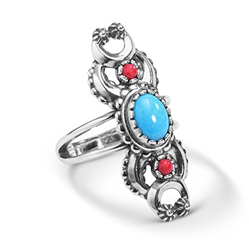 (American West Sterling Silver Turquoise & Coral Naja Ring Size - 5)