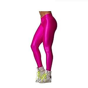 Hupplle Fashion Neon Stretch Skinny Shiny Spandex Leggings Pants