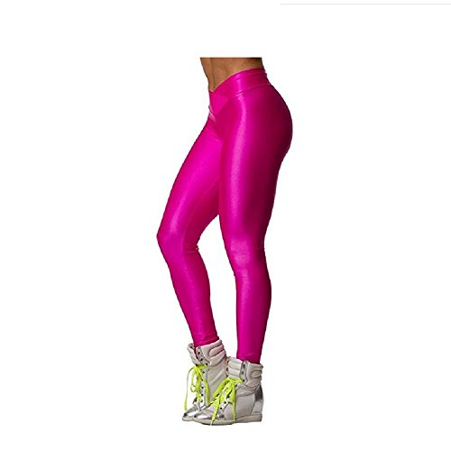 Hupplle Fashion Neon Stretch Skinny Shiny Spandex Leggings Pants (Pink, Medium) -
