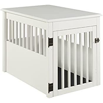 High Quality BarkWood Large Pet Crate End Table   White Finish