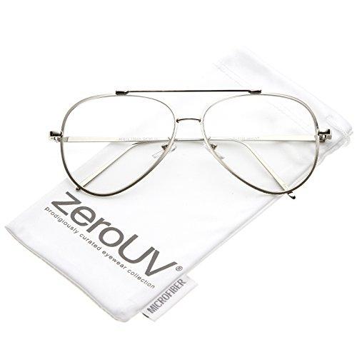 zeroUV - Mod Fashion Teardrop Rimless Clear Flat Lens Metal Frame Aviator Eyeglasses 58mm (Silver / - Eyeglasses Rimless Aviator
