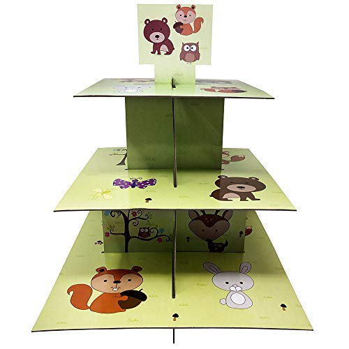Woodland Creature Cupcake Stand & Pick Kit, Forest Party Supplies, Animal Decorations, Birthdays, Cake Decorations, Kids Birthdays, 3 Tier Cardboard