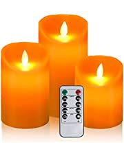 Aku Tonpa Flameless Candles Pack of 3 Battery Operated Pillar Real Wax Flickering Moving Wick Electric LED Candle Gift Sets Remote Control Cycling 24 Hours Timer