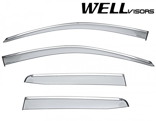 WellVisors Replacement for 2017-Present Honda Ridgeline Tape-ON Chrome Trim Smoke Tinted Side Rain Guard Window Visors Deflectors 3-847HD037